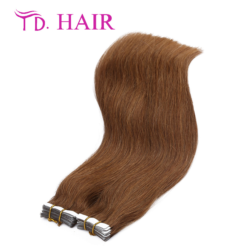 #8 HOT brazilian virgin straight 14-26inch 7A tape hair skin weft tape human hair extensions 20/40pcs a variety of colors