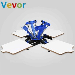 VEVOR Four Screen Plates 4 Color 4 Station Single Rotary Screen Press For T-shirts Manual