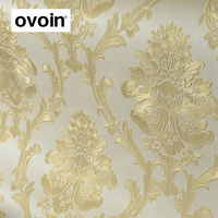 Flocked 3D Damask Wallpaper Deep Embossed Wall Coverings Non Woven Gold Cream Blue Home Decor