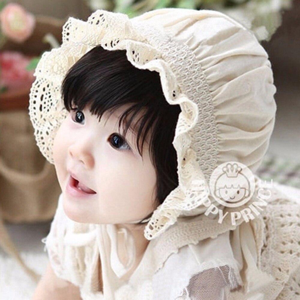New Born Baby Girl Kid Cotton Christening Sun Cap Bonnet Sunhat Beanies 0-8Month 3 Colors