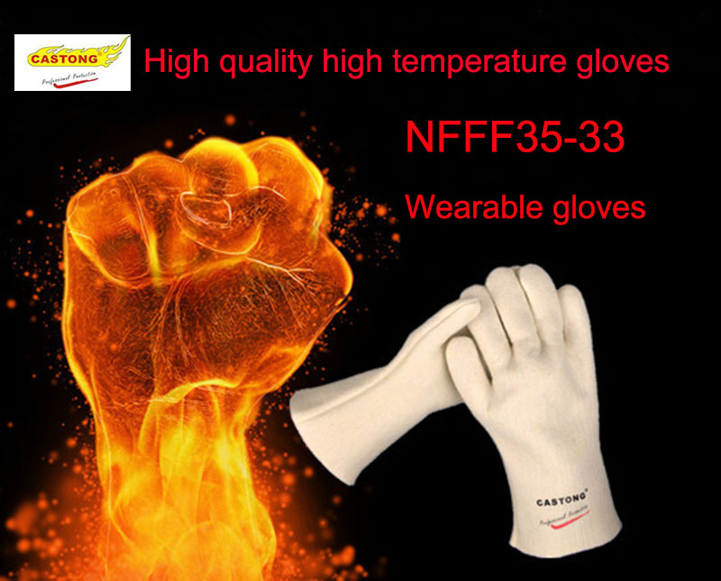 CASTONG 300 degrees high quality safety gloves Aramid Fiber weaving Wearable protective gloves Industrial smelting work gloves china brand high quality plastic glove clip protective holder safety work gloves guard for worker distribution at 4 jqb