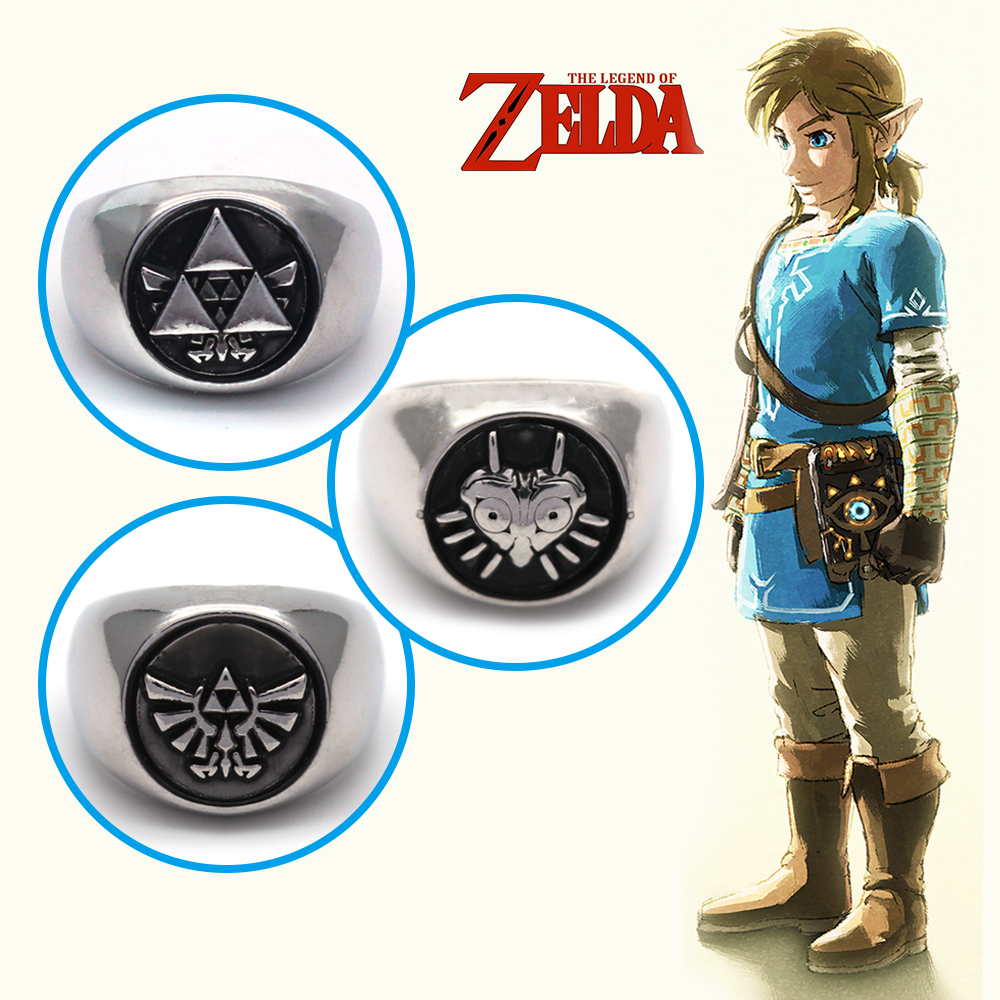 Game The Legend of Zelda Skyward Sword Majora Mask Symbol Charm Silver Metal Ring Jewelry Ornament Cosplay Collection Otaku Gift