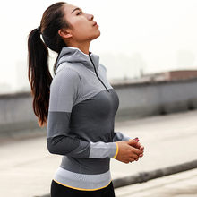 Mermaid Curve Women Hooded running jacket Long Sleeve Sweatshirt Ladies Yoga Sports Zipper Jacket Fitness Gym Shirts Women's(China)