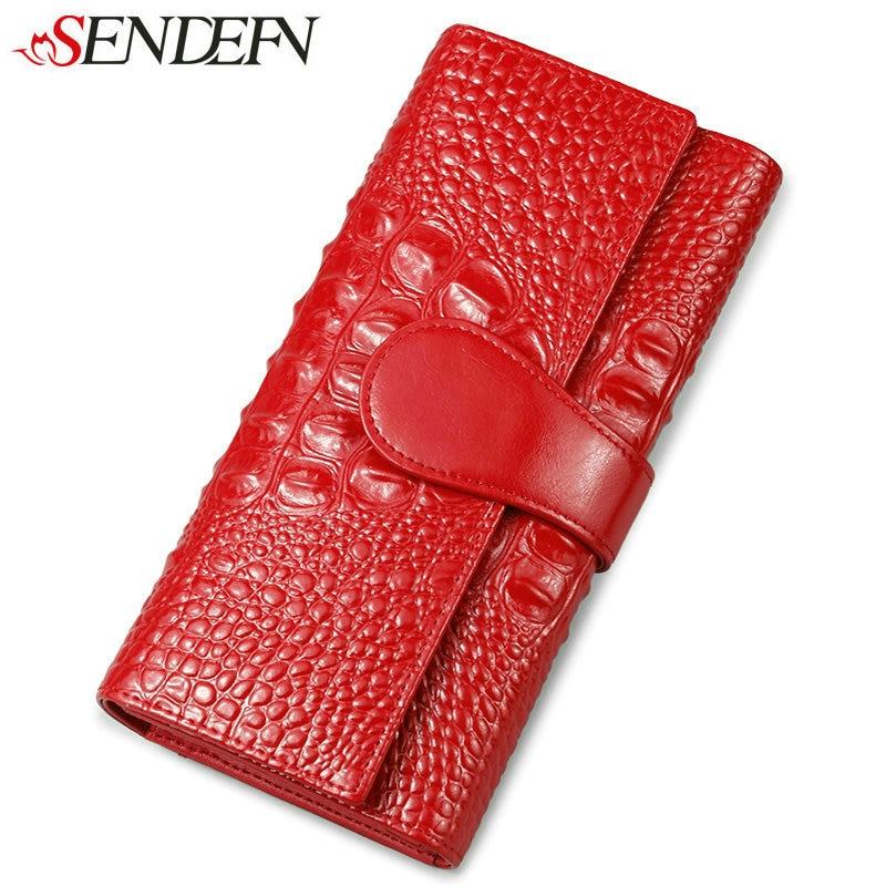 SENDEFN Luxury Women's Purse Split Leather Wallet Women Clutch Purse Alligator Credit Card Holder Long Female Wallets For Money стоимость