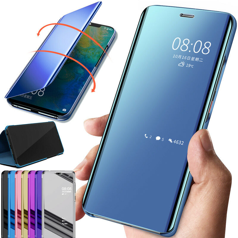 Mirror Smart Case For Huawei Y6 Pro 2019 Y6 Prime 2019 Cover View PU  Leather Stand Flip Cover For Huawei Honor 8A Case Fundas