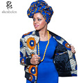 Primavera otoño 2016 mujeres de la manera abrigo clothing africana batik impresión de manga larga chaqueta de cremallera cuello alto flojo básico