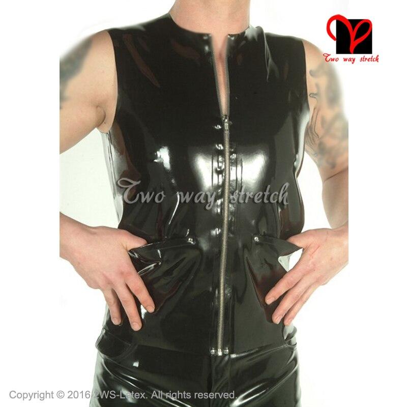 Noir Sexy Latex chemise poche zip avant sans manches en caoutchouc maillot de corps col rond Pull sur le dessus latex Tee shir taille XXXL SY-059