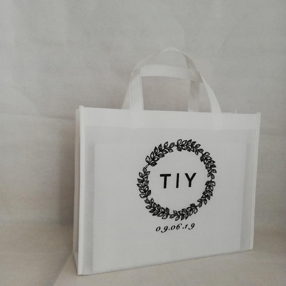200 Teile/los 30hx38x10cm Nach Non Woven Einkaufstasche Taschen Mit Ihrem Logo Personalisierte Reusable Gift Taschen Für Hochzeit