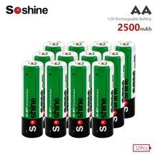 Soshine 12X original battery 1.2V 2500mAh NiMH AA LR6 HR6 rechargeable batteries high-quality toys, cameras, flashlights