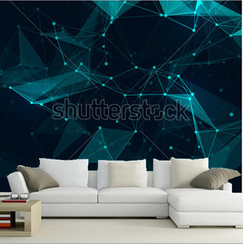 Custom 3D murals,Abstract polygonal space with connecting dots and lines,living room sofa TV wall children bedroom wall paper