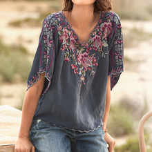 Blouse Tops Summer Neck