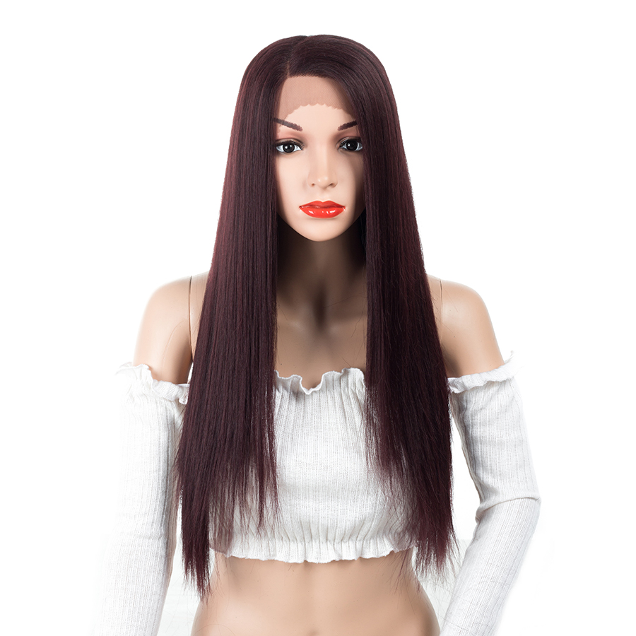 ELEGANT MUSES Long Straight Wig Women Hairstyles Heat Resistant Synthetic Lace Front Wigs For Women African American Hairpieces