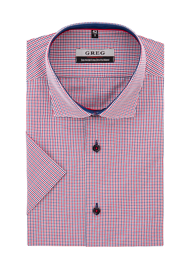 Shirt men's short sleeve GREG 264/109/7489/ZV/1 Red v neck flower and bird print plus size short sleeve men s t shirt