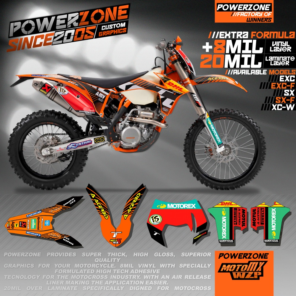 CustomizableTeam Graphics Backgrounds <font><b>Decals</b></font> 3M Stickers Kits For <font><b>KTM</b></font> SX SXF EXC XCW 125 250 450 530 <font><b>2008</b></font> -2018 image