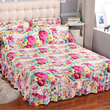 Bed Skirt Fitted Bed Sheet Flower Elastic patchwork Bedspreads Home Decorate Mattress Cover Bedclothes No Pillowcase