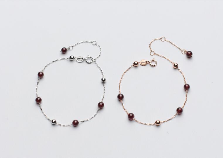 1 Stück 100% Real. 925 Sterling Silber Schmuck Natürliche Rote Granat Stein & Perlen Kette Armband Einstellbar Gtls528