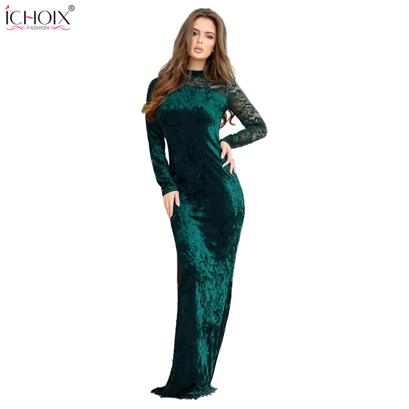 4c50b6dd66 2018 Nova Primavera longo sexy Clube vestido de Renda de veludo de ...