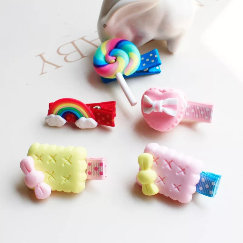 2018 New Arrivals Cute Hair Clip Rainbow Children Hair Accessories for Girls Candy Color Bow Cookie Lollipop Cloth Hairpin 1PC