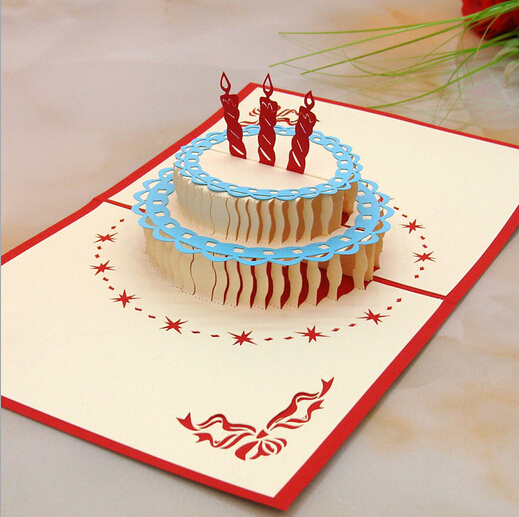 3d Stereoscopic Creative Birthday Cake Greeting Cards Handmade Paper