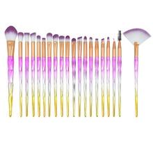 20 pcs purple Unicorn Eyeshadow Eyeliner Blending Crease Kit Makeup Brushes Powder Cream Cosmetics Brushes