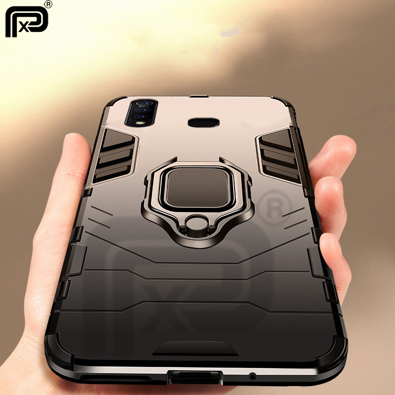 For VIVO Z5X Case Ring Holder Armor Bumper Hard PC Back Cover For VIVO Z1 Pro Case Finger Ring Soft TPU Frame Shockproof Fundas