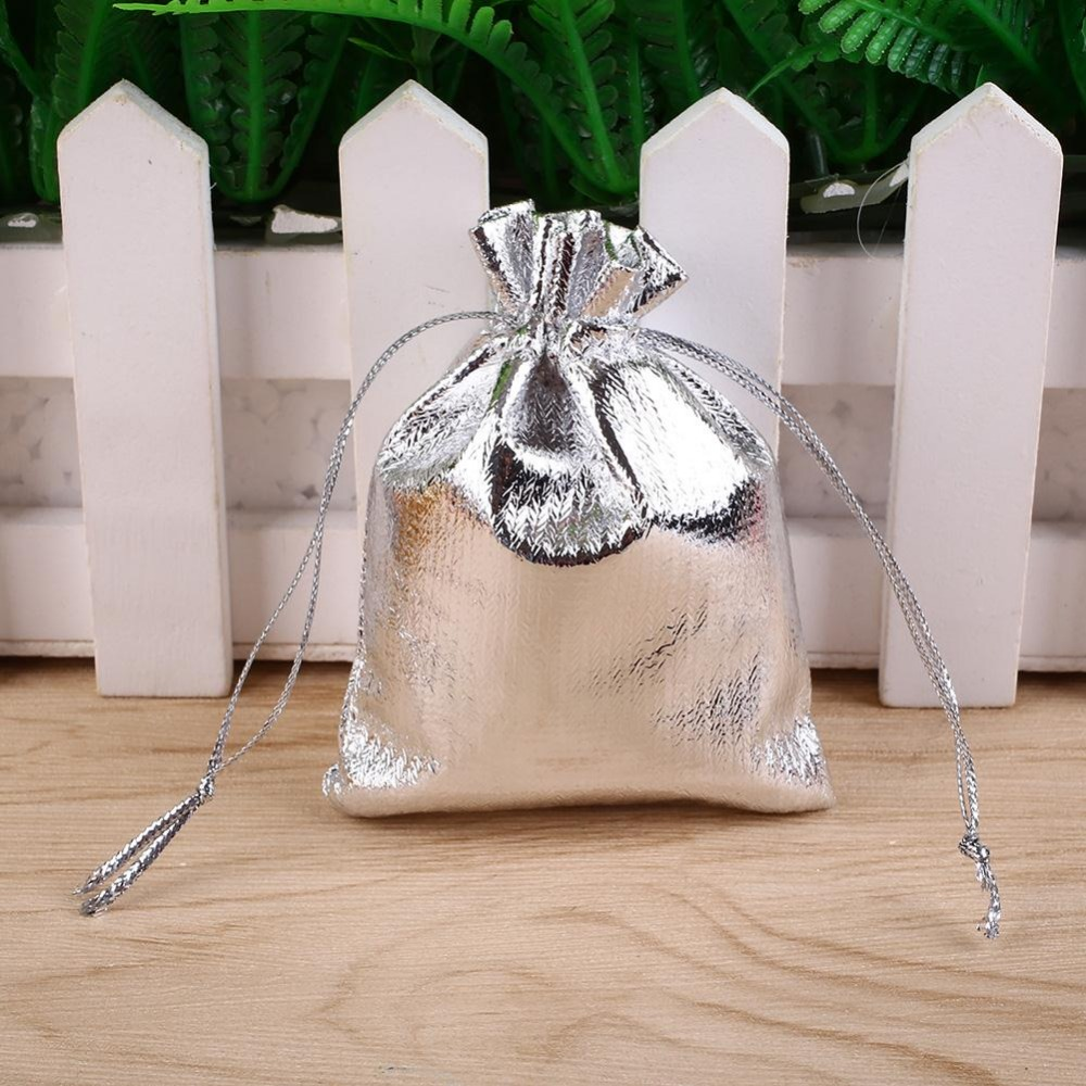 50pcslot Silver Wedding Gift Bags Pouches For Jewelry Drawstring