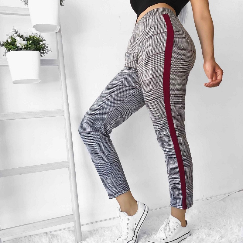 LOSSKY Balck Plaid Hosen Jogginghose Frauen 2018 Herbst Seite Streifen Hosen Casual Komfortable Elastische Hohe Taille Hosen Jogger