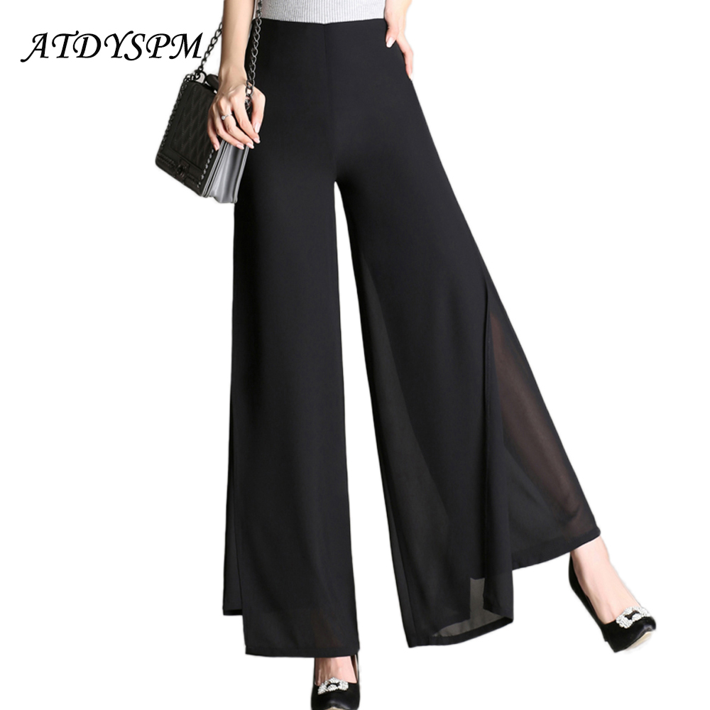 New Women   Wide     Leg     Pants   Double Layers Chiffon   Pants   Trousers Female High Waist Loose Casual   Pants   Office Lady Summer   Pants