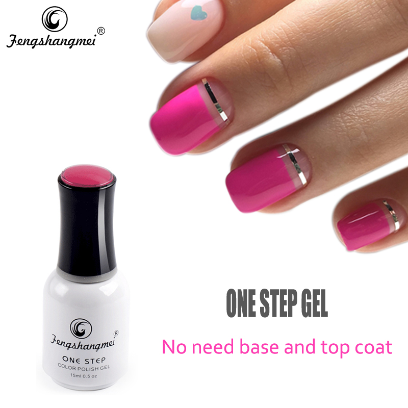Fengshangmei 15ml One Step Gel Esmalte de Uñas Sin Base Capa Superior Gel Barniz 3 en 1 Gellak UV LED Nail Polish