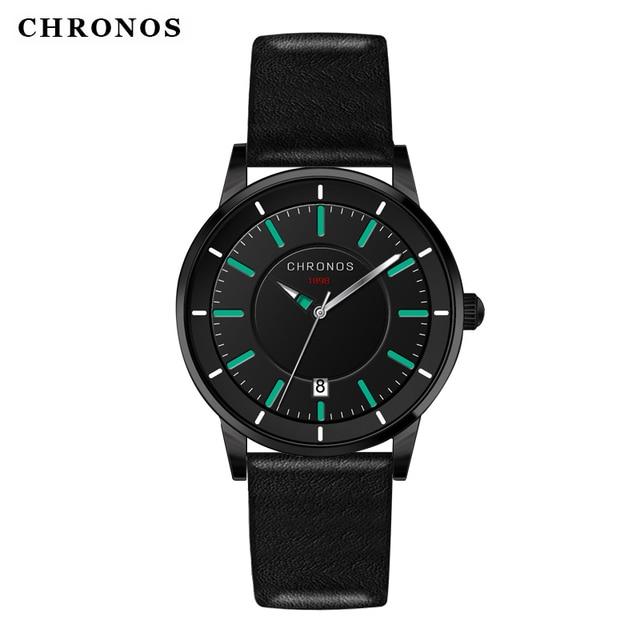CHRONOS Classic Male Black Quartz Watch Leather Wristwatch Relogio Masculino Cau