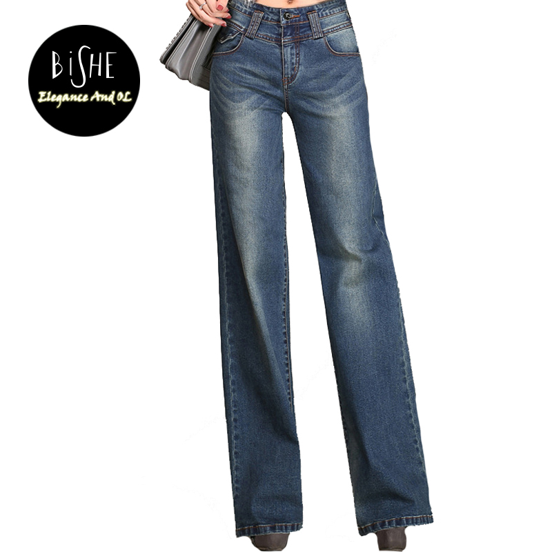 BiSHE Women Flare Jeans Vintage Style Bell Bottom Plus Size Loose Jeans Female Deep Blue Solid Wide Leg Denim Pants Young Lady цены онлайн