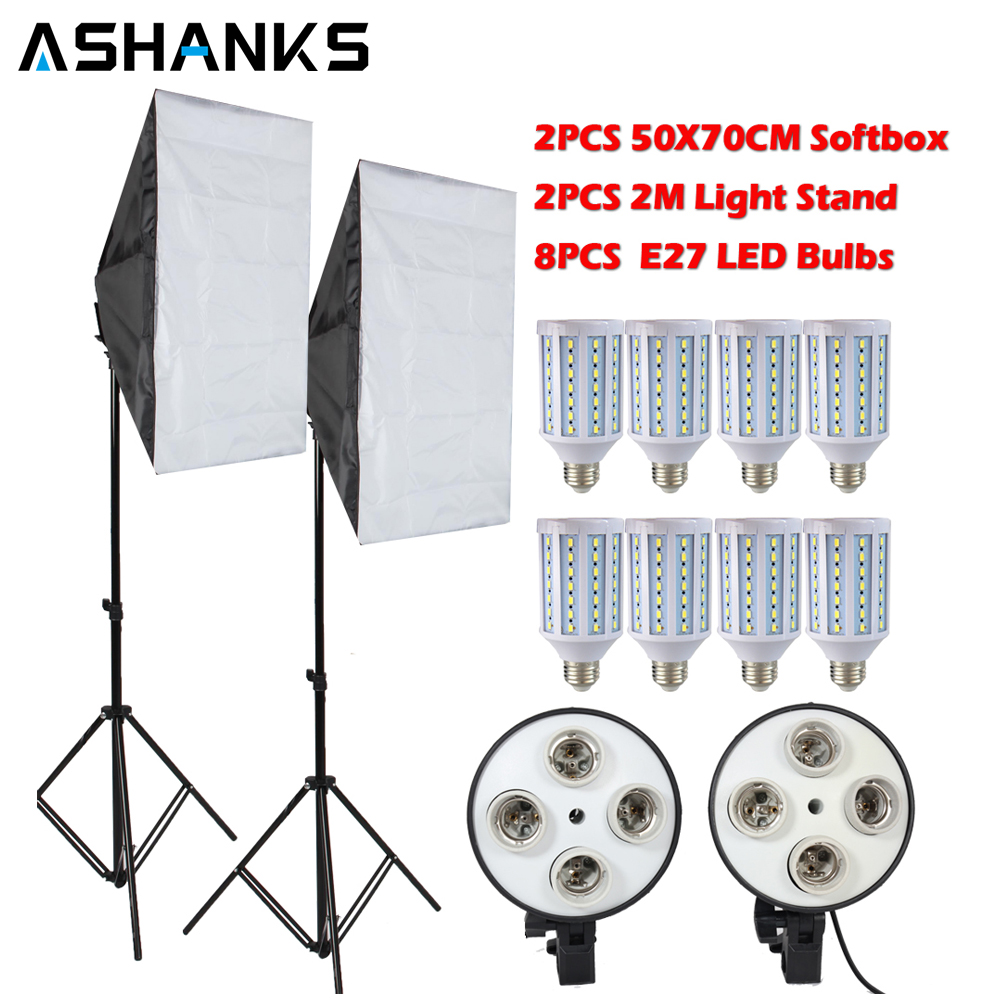 8PCS Lamps E27 LED Bulbs Photography Lighting Kit Photo Equipment+ 2PCS Softbox Lightbox+Light Stand For Photo Studio Diffuser photography accessories softbox lighting kit 2pcs 50x70cm softboxes 2pcs light stands photo studio equipment set free shipping
