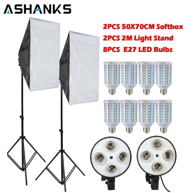 8PCS Lamps E27 LED Bulbs Photography Lighting Kit Photo Equipment+ 2PCS Softbox Lightbox+Light Stand For Photo Studio Diffuser