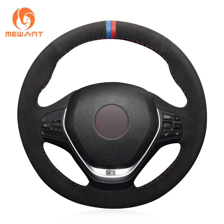 цена на MEWANT Black Suede Genuine Leather Steering Wheel Cover for BMW F20 2012-2018 F45 2014-2018 F30 F31 F34 2013-2017 F32 F33 F36
