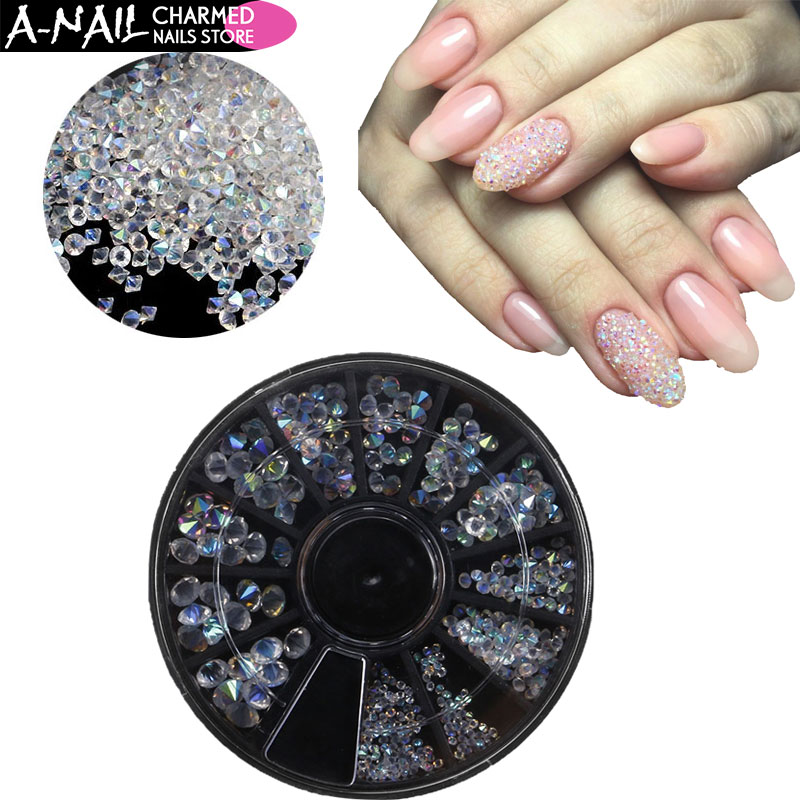 12 Grids/wheel AB Clear Glass Mixed Size Nail Micro Strass Rhinestones Crystals Jewelry Stones For 3D Nail Art Decorations Tools mix rhinestones on nails opal crystals of opal rhinestones for nail glass gems 3d nail art strass ongle decorations mjz1025