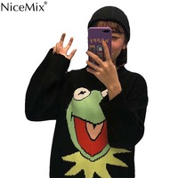 NiceMix Harajuku Cartoon Sweater Women Casual Pullovers Autumn O neck Funny Frog Jumpers Korean Streetwear Pull Hiver Femme 2019