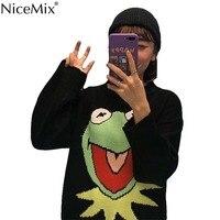 NiceMix Harajuku Cartoon Sweater Women Casual Pullovers Autumn O neck Funny Frog Jumpers Korean Streetwear Pull Hiver Femme 2019