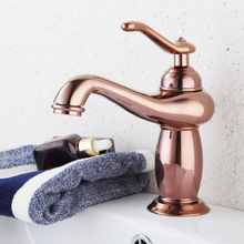 Luxury Rose Gold Bathroom Sink Faucet Single Handle Hot Cold Wash Mixer Water Tap Deck Mounted Basin Faucets KD1332 free shipping single handle rose gold bathroom faucet with deck mounted space aluminium kitchen sink water faucets