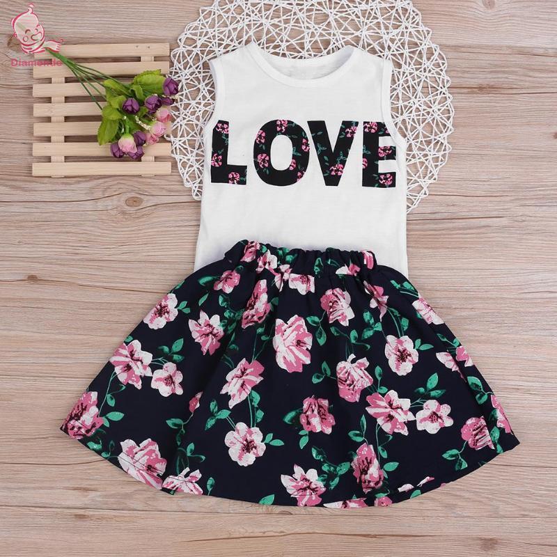 Sleeveless Vest Tops Skirt Suit Summer Girls Clothing Set Fashion LOVE Print Floral 2pcs