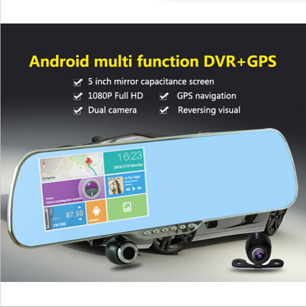 5 inch 1080P Dual Lens Android 4.04 Car DVR Camcorder Rearview Mirror / GPS FM Wi-Fi 8GB touch screen 140 Angle View - Green Lake Electronics Co., Ltd. store