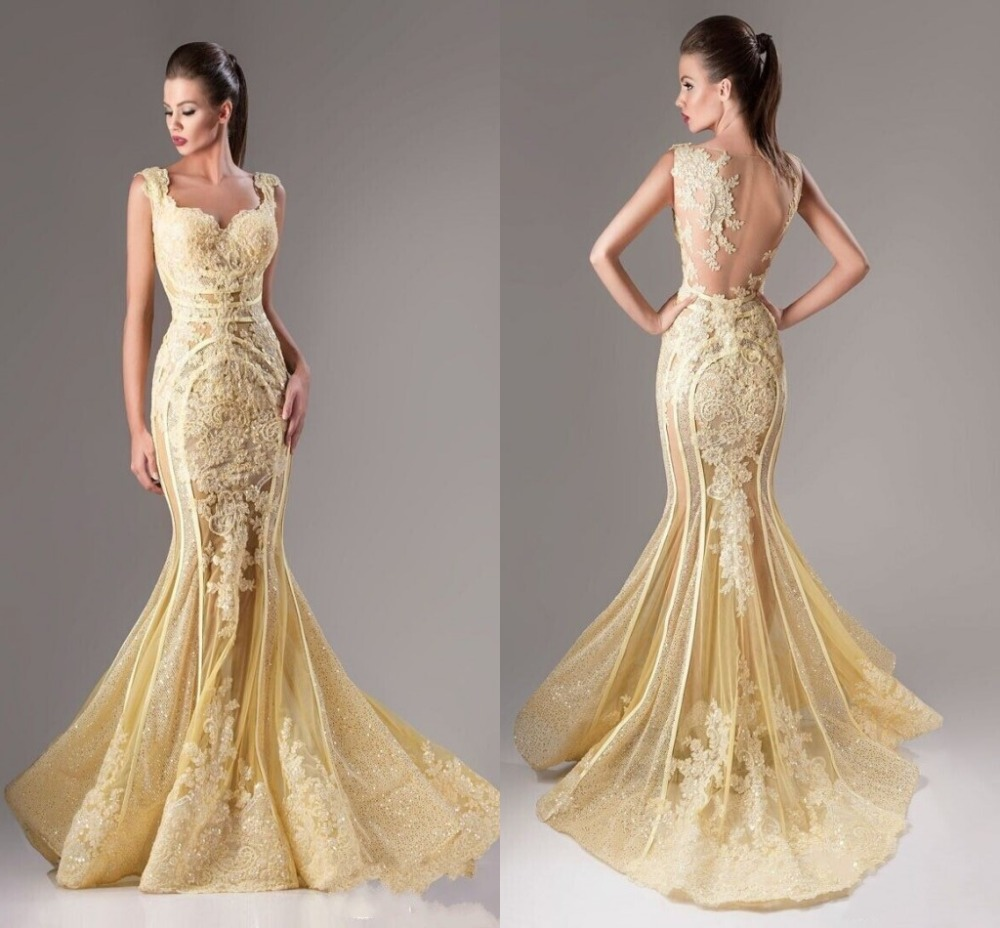 Luxury Gold Mermaid Long Evening Dress Elegant Tank V Neck See Through Back Formal Party Dress