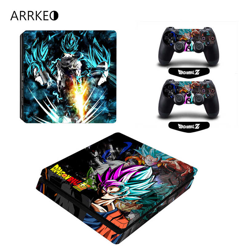 ARRKEO Dragon Ball Super Son Goku Vinyl Cover Decal Skin Sticker for Sony PS4 PlayStation 4 Slim Console 2 Controllers Skins