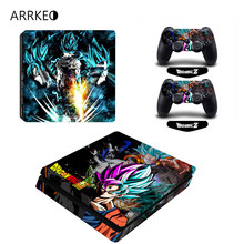 ARRKEO Dragon Ball Super Son Gogu Vinyl Cover Decal Skin Sticker for Sony PS4 PlayStation 4 Slim Console 2 Controllers Skins(China)