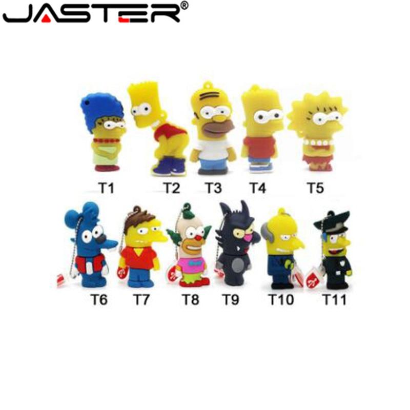 Hot Sale Cartoon Simpson/Homer/Bart Usb Flash Drive Pen Drive 8gb 32gb USB 2.0 Memory Stick Usb Stick PenDrive Thumb/drive/gift