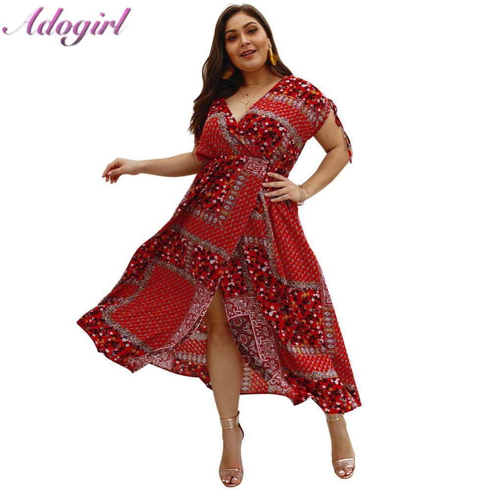 Women Boho Floral Maxi Long Dress Party Evening Beach V-neck Sundress Plus Size