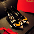 Women's Genuine Suede Leather Cute Eyes Med Heel Comfort Pumps Brand Designer High Quality Elegant Ladies Heeled Shoes for Women