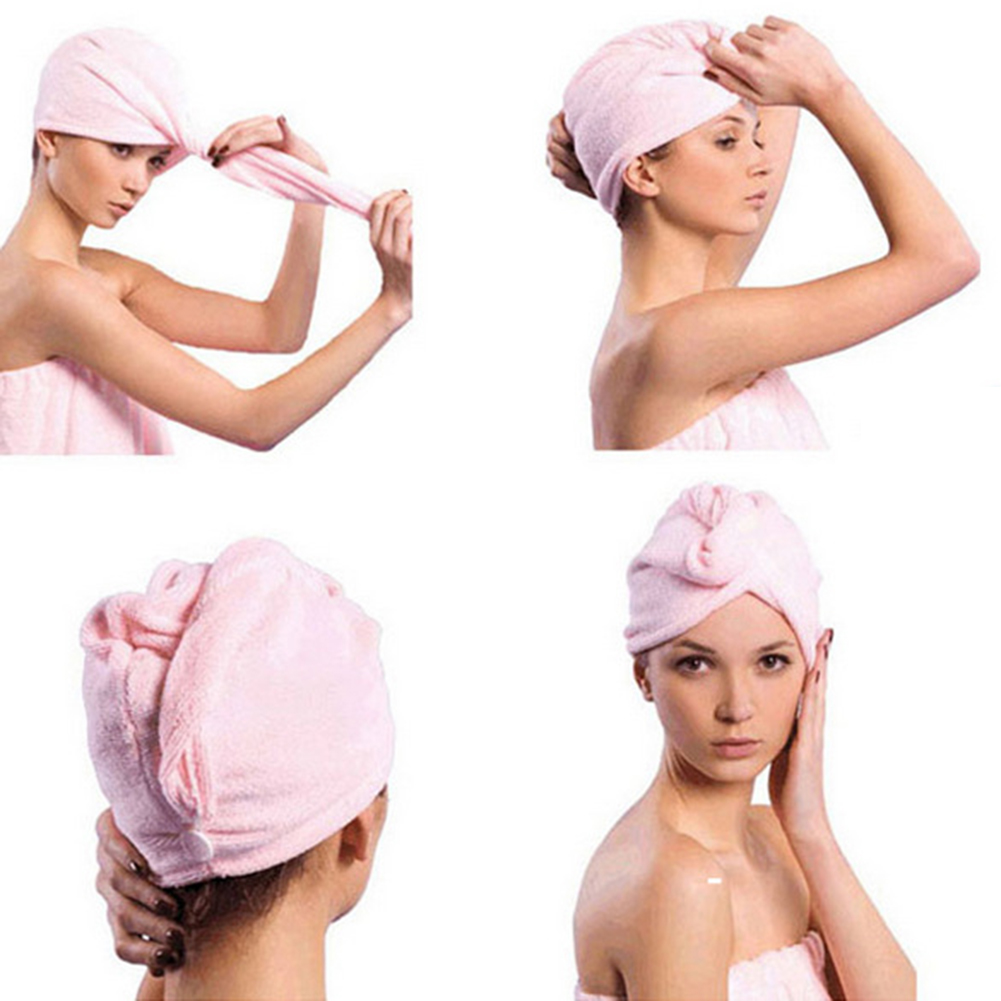 Microfiber Bath Towel Hair Dry Quick Drying Lady Bath Towel Soft Shower Cap Hat For Lady Man Turban Head Wrap Bathing Tools