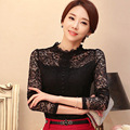 OL Style Lady Fashion Lace Shirts Size S-3XL  Long Sleeve Autumn Spring Tops Girls Black White Sexy Blouses