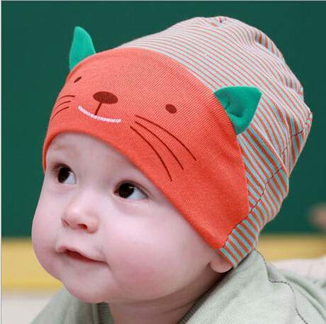 8f41003ac US $1.79 15% OFF|baby caps cute cat ear design baby beanie kids hats,boy  girls cotton striped cap newborn bebes bonnet for 1 3years old -in Skullies  & ...