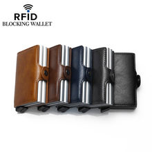 Bycobecy Anti Rfid Protection ID Credit Card Holder Men Women Double Layer Wallet Metal Leather Aluminum Business Card Wallet(China)